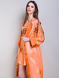 Freeshare 2015 Women Pajamas of 100% Silk Orange Nightgown Suspender Dress Suit of Heavy Silk Fabric