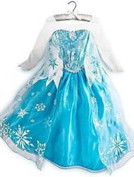 Girl's Summer/Spring/Fall Micro-elastic Sheer/Medium Dresses (Mesh/Polyester/cotton,The Snow Queen)