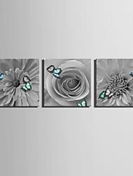 e-FOYER toile tendue art fleurs et de papillons de peinture décoration ensemble de trois