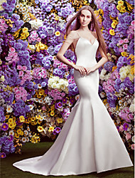 Lan Ting Trumpet/Mermaid Wedding Dress - Ivory Chapel Train V-neck Lace / Satin