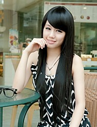 Long Straight Women Natural Black Synthetic Hair Wigs with Side Bang