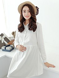 Women's Vintage/Casual/Cute Micro-elastic Long Sleeve Long Maternity Shirt (Cotton)
