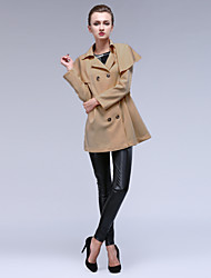 Women's Button Down Cloak Splice Skinny Trench Coat