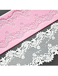 FOUR-C Cake Lace Mat Silicone Mold Cake Decorating Supplies,Silicone Mat Fondant Cake Tools Color Pink