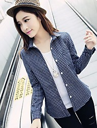 Women's Casual Micro Elastic Long Sleeve Regular Shirt (Cotton)