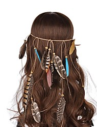 Lureme® Bohemian String Weave Wooden Beads Multicolour Peacock Feather  And Pheasant Feather Hair Accessories