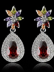 2015 New Europe Italian Design  Zircon Crystal Long Drop Earrings pendientes Brincos