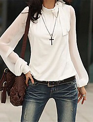 Women's Solid Black/White Blouse, Long Sleeve