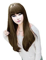 Neat Bang Long Straight Non-Mainstream Critical Can Be Hot Rolled High Temperature Silk Face Fashion Wig