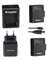 KingMa® 2pcs AHDBT-302 1180mAh 2-Polymer Battery+Dual USB Charger+EU Adapter for Gopro Hero 3+ and AHDBT-201 301-Black