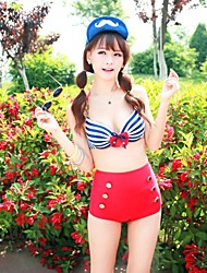 Elegant Woman Striped Bow Waist Bikini Swimsuit Swimwear