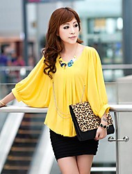 Women's Pleated with Round Collar and ½ Length and Cape Sleeve Regular Blouse (Chiffon)