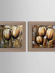 Oil Painting Modern Abstract Flower Set of 2 Hand PaintedNatural linen with Stretched Frame