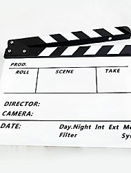 Movie / TV Film Director's Acrylic Handmade Clapperboard Slate - White + Black