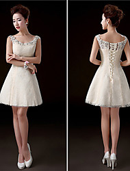 Short/Mini Lace Bridesmaid Dress - Champagne A-line Scoop