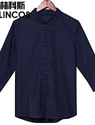 Männer china Wind Komfort Leinenbluse Kragenmänner sieben Taste Shirt einfarbigen