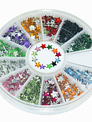 600Pcs 12 Color Five Pointed Star Shape Acrylic Diamond Nail Art  Decoration kits