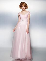 Una línea de hombro de longitud de tul vestido de fiesta de tul con cristal de ts couture ®