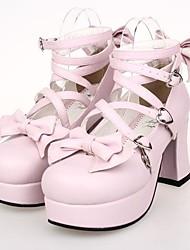 Sapatos Doce Cadarço Salto Alto Sapatos Laço 7.5 CM Rosa Para Feminino Couro PU/Couro de Poliuretano
