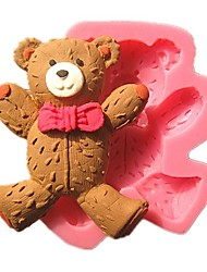 Cute Wearing Tie Teddy Bear Fondant Cake Molds