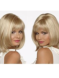 Top Quality Fashion Blonde Middle Long Straight  Wig Woman's Synthetic Wigs Hair Freeshipping Classic Bob Style