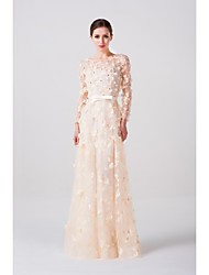A-line Wedding Dress - Champagne Floor-length Scoop Lace / Tulle