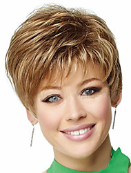 Women Medium Brown lady Straight Short Synthetic Hair Wigs
