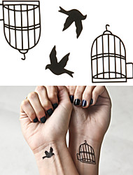 Bird Cage Tattoo Stickers Temporary Tattoos