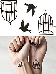 клетка для птиц татуировки наклейки временные татуировки