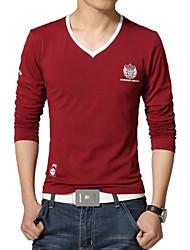 Informeel/Grote Maten - Opdruk - Lange Mouw - MEN - Katoen/Polyester - T-shirts - Blauw/Rood/Wit/Grijs