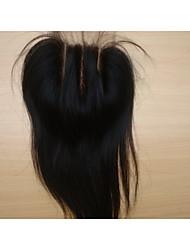 """brésiliens vierges morceaux de cheveux couleur de cheveux naturelle dentelle fermeture 3,5 """"x4"""" droite 3 partie 8 """"1pc naturelle"""