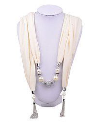 D Exceed Women's Cream Cotton Scarf Necklace Pearl and stone ball Scarf necklace with Tassels