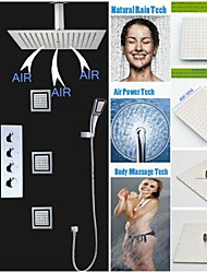 Four Handles Rainfall Shower Faucet, 16 Inch Brushed Air Injection Water Saving Shower Head And 6 Pcs Massage Spray Jets