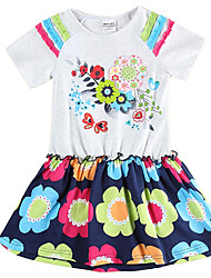 Girl's Dresses Short Sleeve Dress for Girls Kids Princess Dress Children Dresses(Random Printed)