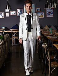 Tuxedos Tailored Fit Shawl Collar One-Button Cotton/Polyester Patterns 2 Pieces White