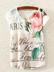 Women's Roses Love Letters Print Loose Short Sleeve T-shirt
