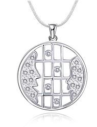 Женский Ожерелья-бархатки Ожерелья с подвесками Кулоны Стерлинговое серебро Циркон Цирконий Белый БижутерияСвадьба Для вечеринок