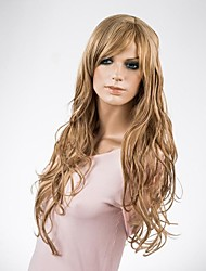 Lady's Long Fashionable Blonde Natural Wave Synthetic Wig