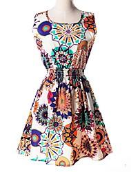 Платье - Выше колена - Шифон - Принты - Пояс не входит в комплект