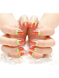 24PC Watermelon Design Nails  Art Tips No.60