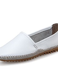 Women's Shoes Leather Flat Heel Round Toe Loafers Casual white