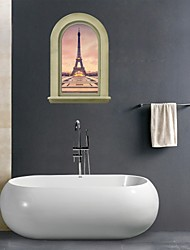 3D Wall Stickers Wall Decals, Eiffel Tower Bathroom Decor Mural PVC Wall Stickers