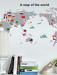 Wall Stickers Wall Decal World Map Removable Washable PVC