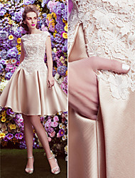Homecoming TS Couture Cocktail Party Dress - Champagne A-line Bateau Knee-length Lace / Satin