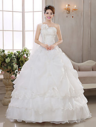 Princess/Ball Gown Wedding Dress - Ivory Floor-length One Shoulder Organza