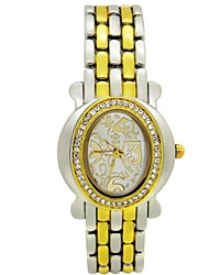 Women's Pattern Oval Diamond Dial Flowers Strap Japanese Quartz Fashion Watch (Assorted Colors)