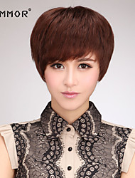 Capless Short  Human Hair Wigs with Side Bang