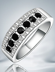 Ring Fashion Party Jewelry Sterling Silver / Cubic Zirconia Women Band Rings 1pc,One Size Silver