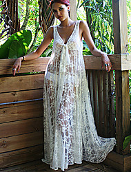 Women's Lace White Dress, Sexy/Beach/Maxi Deep V Sleeveless See-through