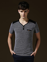 Men's Short Sleeve T-Shirt , Cotton/Lycra Casual/Work/Formal/Sport/Plus Sizes Print